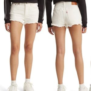 White Levi 501 Cutoffs